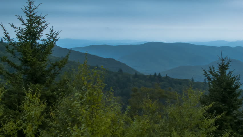 Panning Over the Mystical Smoky Mountains at Dusk. Seen from an Overlook on the Blue Ridge Parkway near Asheville, North Carolina in Summer. #5756285