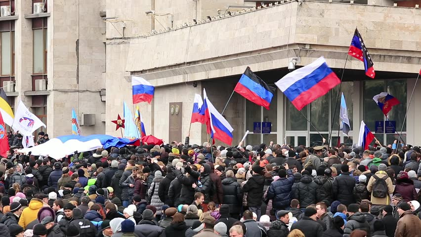 DONETSK, UKRAINE - MARCH 1. Russian spring. Peaceful rally against the Nazis, benders, fascists, nationalists. March 1, 2014 in Donetsk, Ukraine