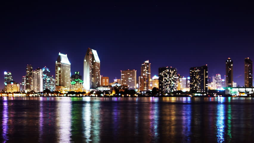 Time Lapse of San Diego Skyline Night Cityscape