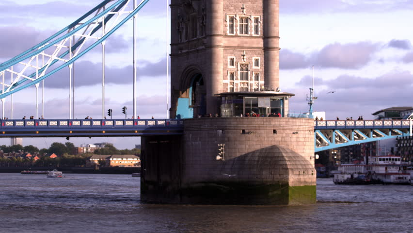 Close up view of base of tower on Tower Bridge in London, England