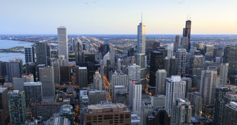 Chicago cityscape, day to night transition time lapse, high angle view | Shutterstock HD Video #5792096