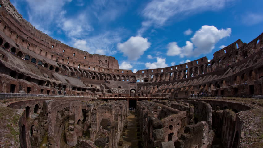 ROME, ITALY - MAY, 2012 - Time lapse shot from inside the Colosseum