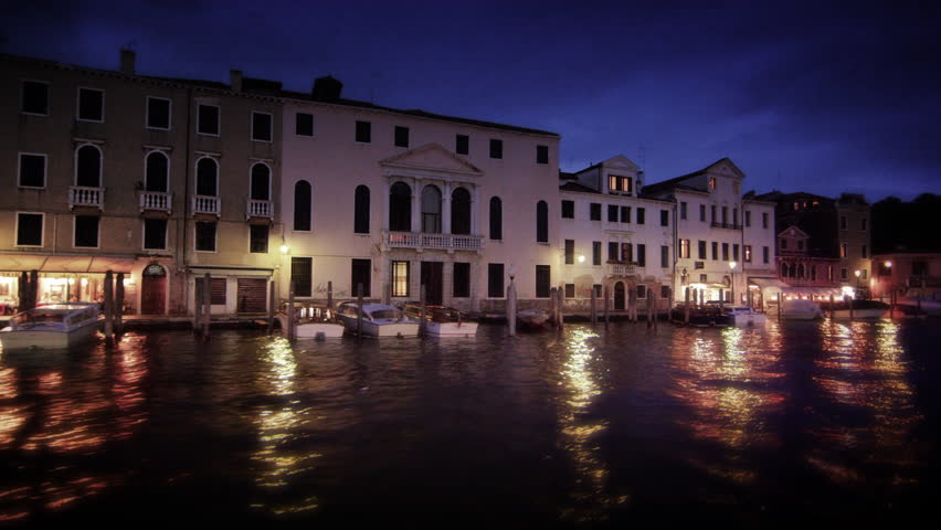 Sped-up footage of Grand Canal at dusk - 4K stock footage clip