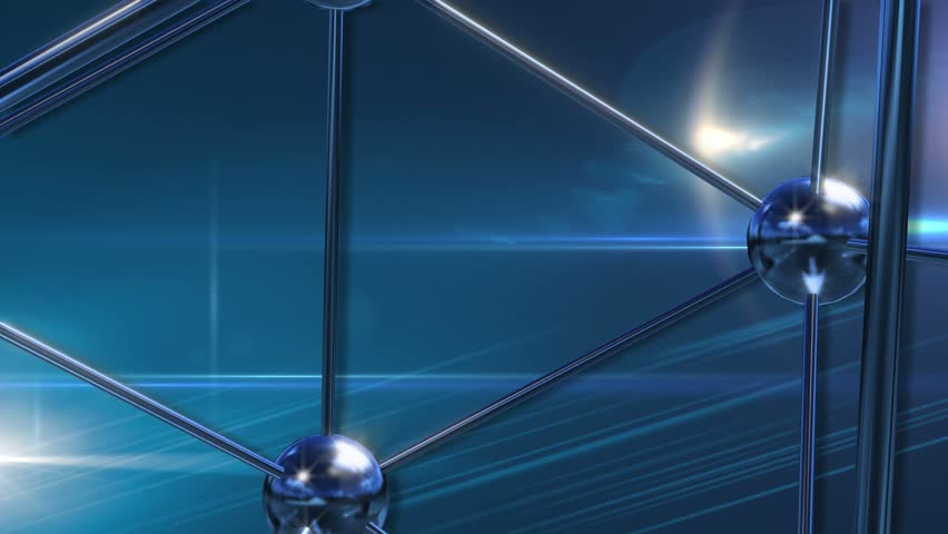 Abstract rotating chrome atomic particles turquoise blue background lens flare 3D Animated Computer Design Abstract Background    Shutterstock HD Video #5806568