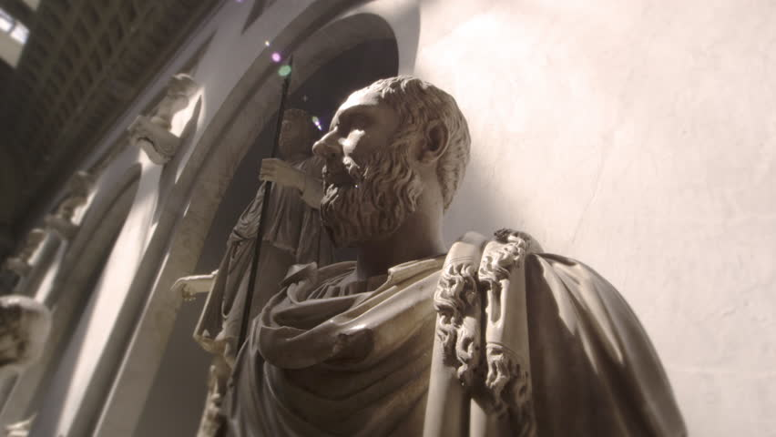 ROME, ITALY - MAY 5, 2012: Tracking footage of bust of bearded man wearing