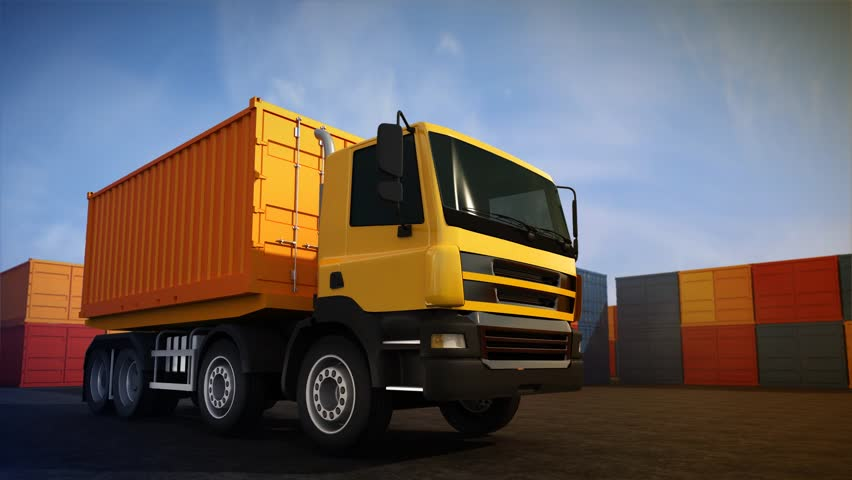 3d rendered animation of loading freight container on orange truck. Background of stack of freight containers | Shutterstock HD Video #5842604