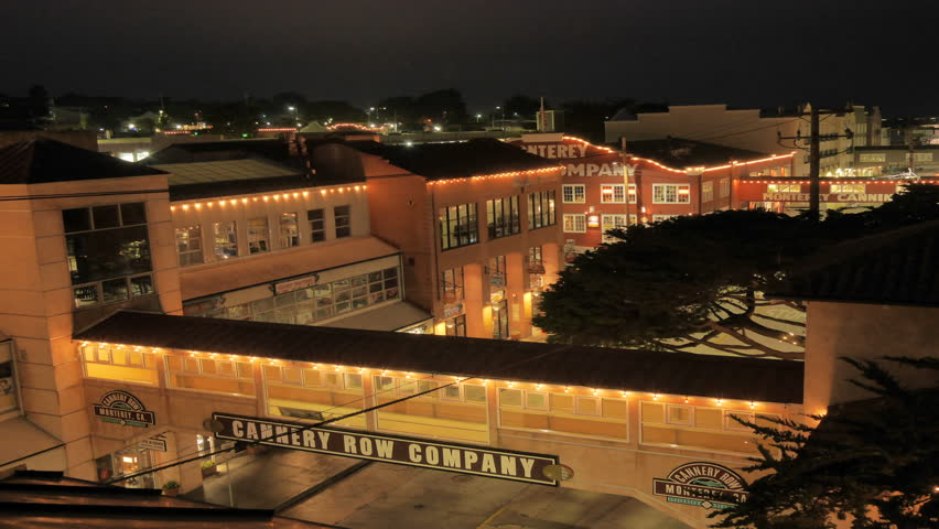 Monterey, California - January 27, 2014 - 4k time lapse wide shot of Cannery Row from a rooftop.