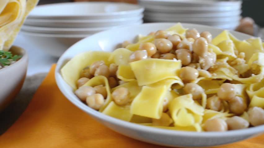 Homemade Italian Tagliatelle Pasta With Chickpeas Cream Stock Footage ...
