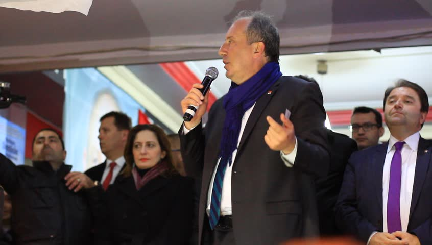 ISTANBUL - MARCH 16, 2014: CHP deputy parliamentary group chair Muharrem Ince slams the government over corruption during election rally at Maltepe. Mr Erdogan criticized by CHP deputy parliamentary