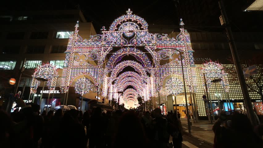KOBE, JAPAN - DEC 9: Crowds in Kobe Luminarie on December 9, 2013 in Kobe, Japan. Kobe Luminarie is a light festival held annually to memorialize the victims of the Great Hanshin Earthquake in 1995
