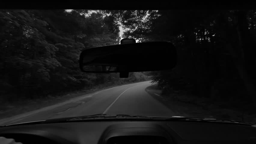 Blind rural corner. Black and white. 