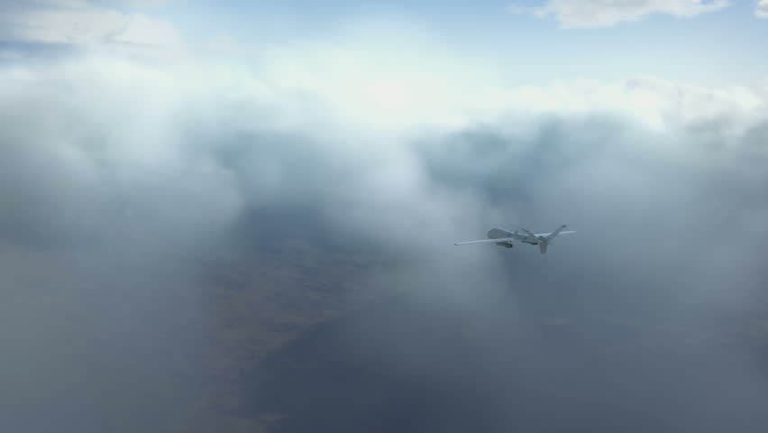 Predator drone flying in the clouds | Shutterstock HD Video #5892644