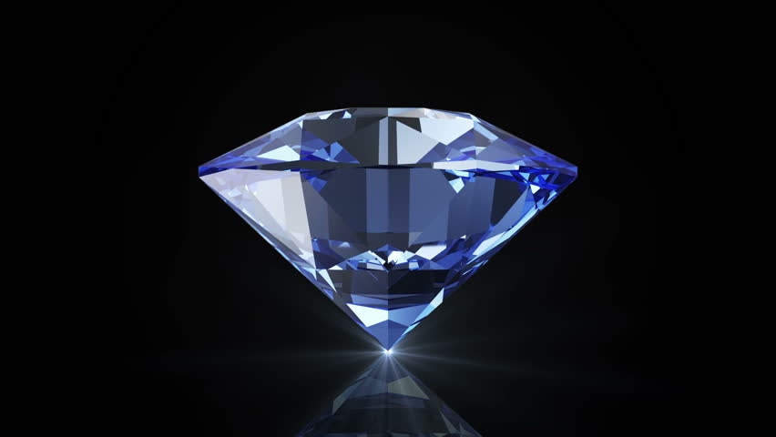 Animation of Blue Diamond Rotation on black background with glowing rays. Seamless Looping HQ Video Clip