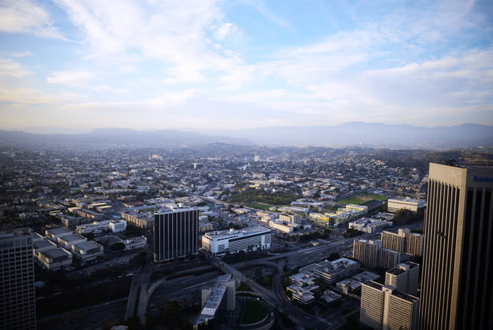 4K Time Lapse of Aerial Cityscape at Sunset in Los Angeles  -3:2 Full Frame-