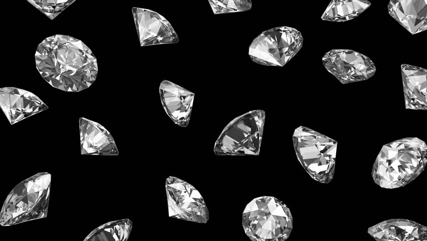 Falling Diamonds on black background. HQ Seamless Looping Animation with Alpha Channel