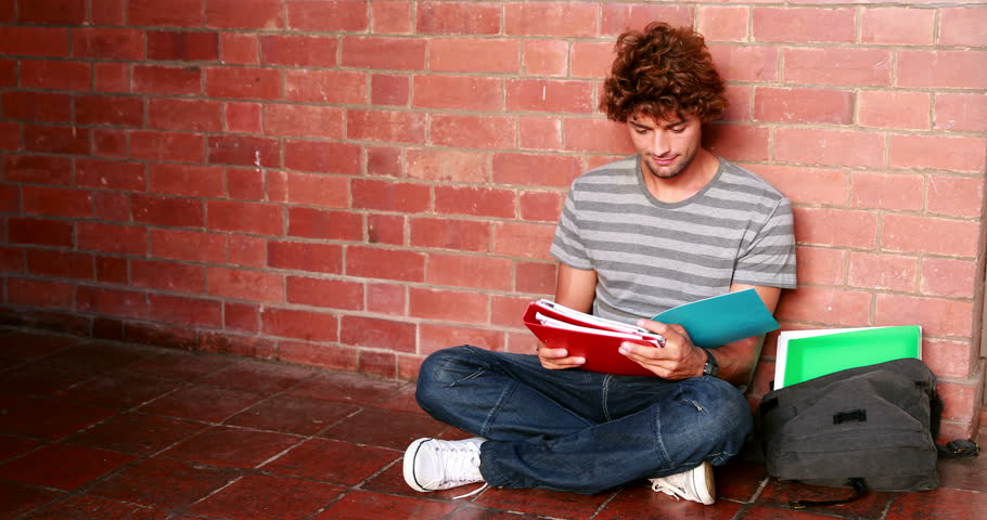 Student sitting against wall reading textbook at the university | Shutterstock HD Video #5932397