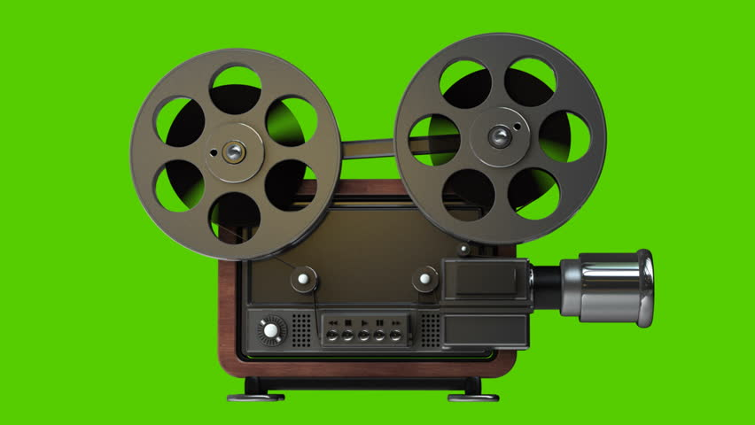 Cinema projector old fashioned isolated on green - Robot de cocina lady master future ...