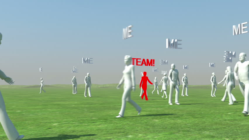 Crowd of people walking with Me text and red leader with Team