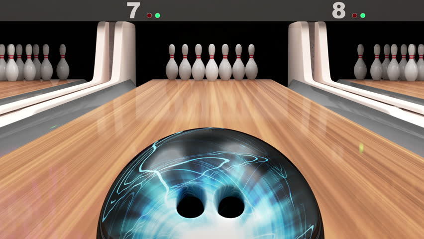 Animation of Bowling. Bowling Ball Missing into the Pins on Wooden Lane. HQ Video Clip