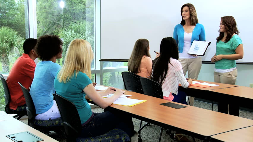 Modern Classroom Students ~ Young african american caucasian male female college