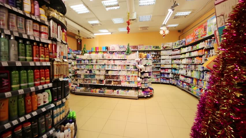 MOSCOW, RUSSIA - DEC 8, 2012: Section of household chemicals in supermarket of home food Bahetle. Currently company Bahetle has 25 stores.
