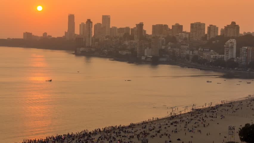 Mumbai Marine Drive Chowpatty Sunset Time lapse / 1080p MOV HQ - UHD & 4k resolution available on request.