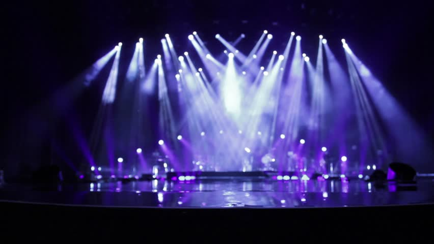 Empty Stage At Concert With White And Blue Spotlights ...