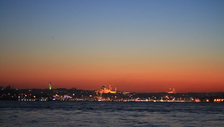 Pan to Maidens Tower at early evening. High Definition Quality Video. Panning right to left of Istanbul landmarks such as Suleymaniye, Topkapi Palace, Hagia Sophia and Blue Mosque.