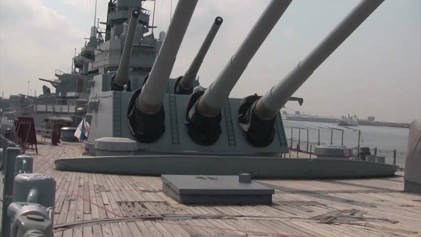 CIRCA 2013 - The gun turrets of a battleship stand ready. - HD stock footage clip