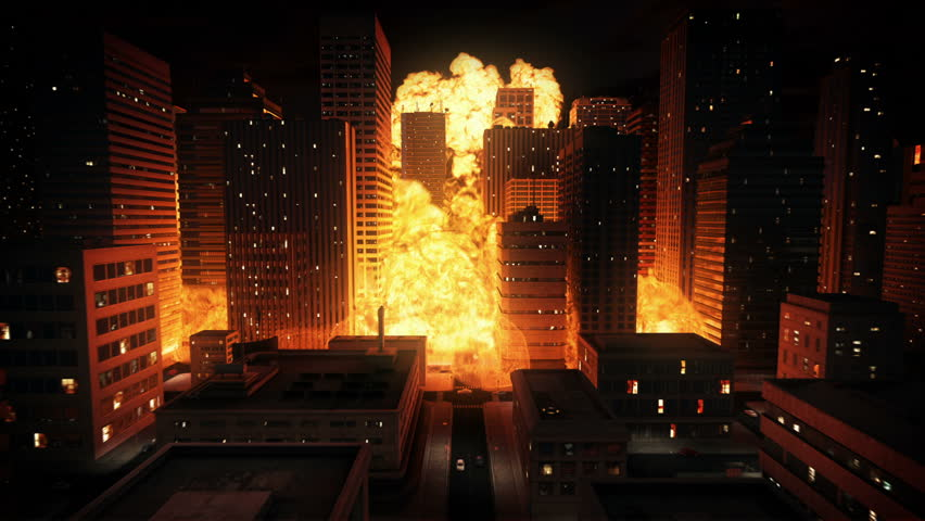 Nuclear explosion in city