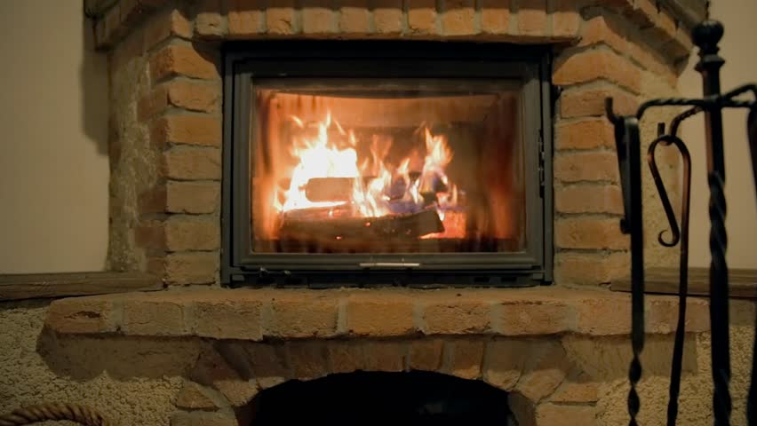 Logs Burn In A Stone Fireplace Stock Footage Video 7001761