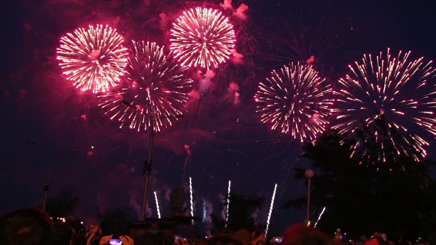 Spectators watching fireworks  | Shutterstock HD Video #6099815
