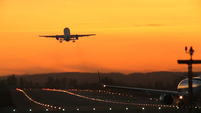 Airplane takeoff runway airport beautiful light