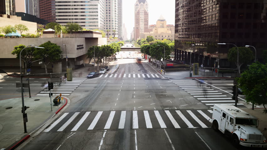 Time Lapse of Downtown Intersection in Los Angeles in Daytime -Tilt Up- | Shutterstock HD Video #6121514