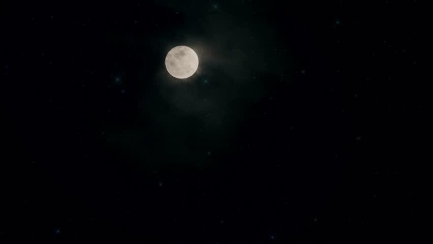 Full moon behind clouds.