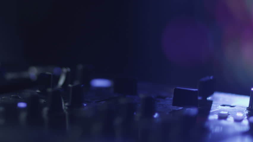 Dj Console in Nightclub Shot on RED Digital Cinema Camera in 4K (ultra-high definition (UHD)), so you can easily crop, rotate and zoom, without losing quality. ProResHQ - 4K stock video clip