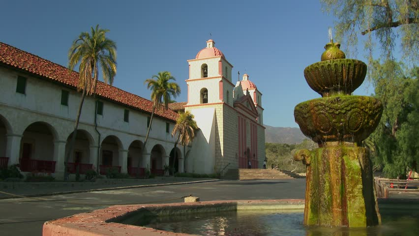 SANTA BARBARA, CALIFORNIA - FEBRUARY 24: The exterior of the historic Old Mission Santa Barbara located in Santa Barbara, California on February 24, 2014. - 4K stock video clip
