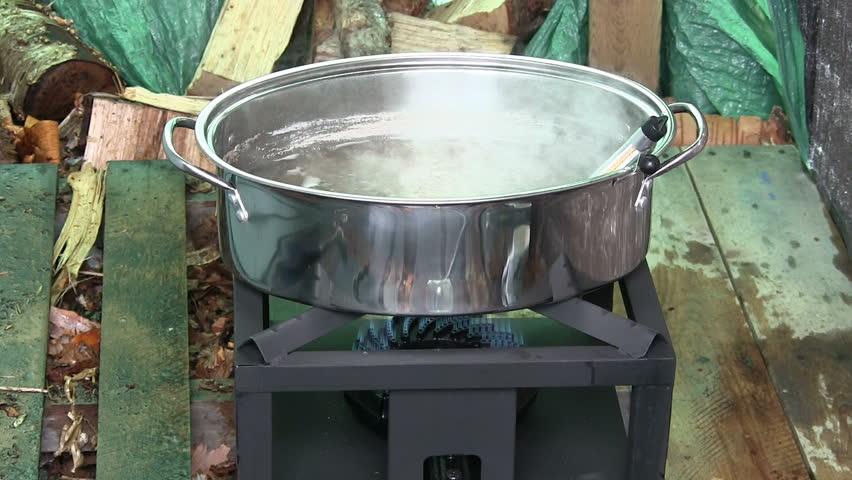 Maple Syrup Sap Evaporator In A Backyard Maple Sugar ...