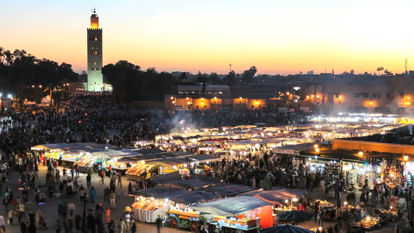 Djemaa el fna in marrakech, morocco(timelapse)