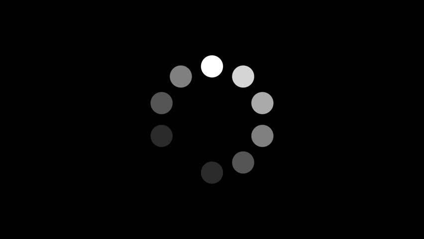 Loading Circle w/ Alpha (60fps). Ten animated dots fading in and out in sequence creating a rotating effect. Rendered large with an alpha channel to layer on top of other elements and footage.