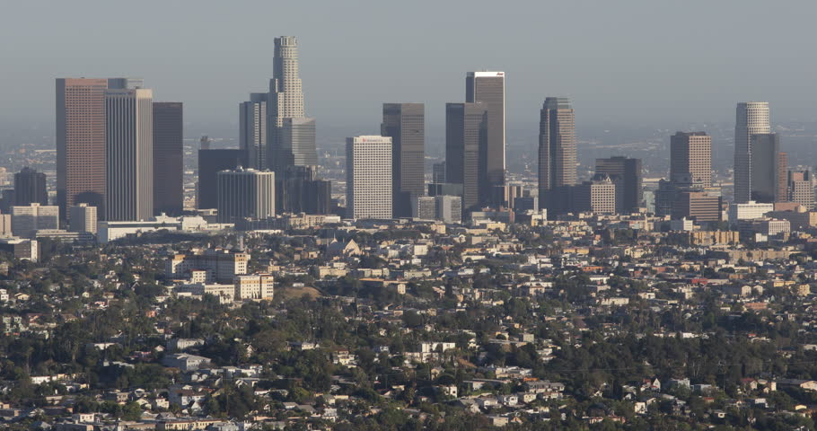 Nissan Los Angeles >> Aerial View Los Angeles Downtown Skyline Commercial Area ...