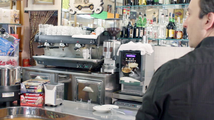 bartender prepares a coffee in a typical bar in rome - HD stock video clip
