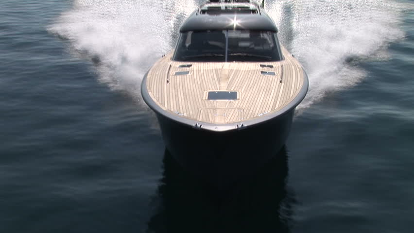 Aerial view of luxury boat navigating at full speed