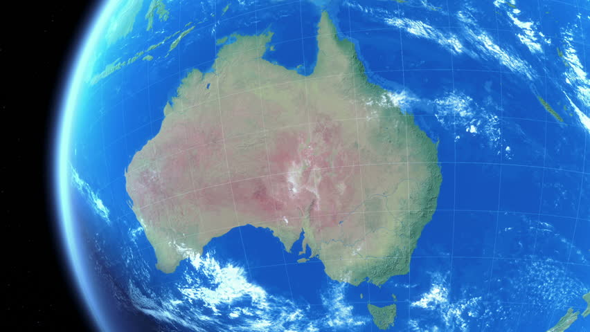 Zoom to Australia. Realistic Earth. Day and Night. Political borders. Zoom to Australia.