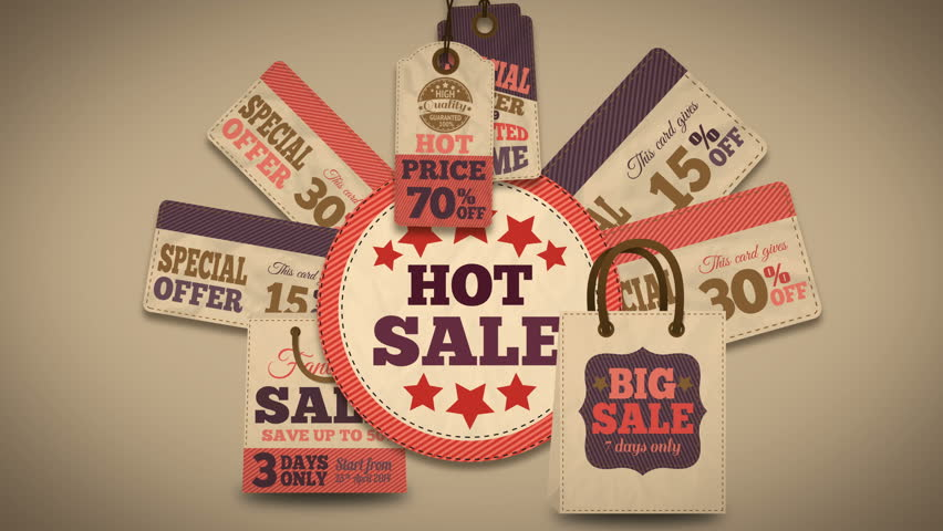 Hot sales promotion splash screen with discount tags price labels and best deal cardboard cards available in 4k UHD FullHD and HD video animation footage