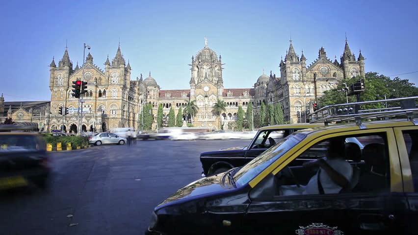 MUMBAI, INDIA - FEBRUARY 27: Chhatrapati Shivaji Terminus timelapse on February 27, 2014, Mumbai, India