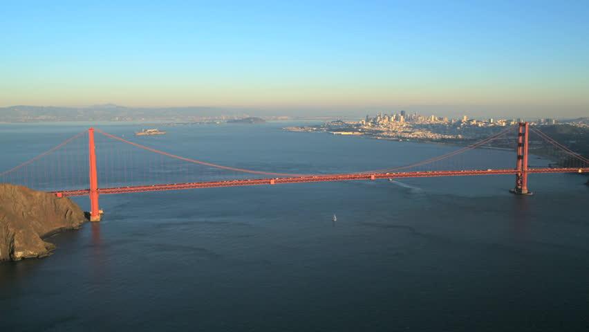 San Francisco Golden Gate Bridge The Scene Shows The City