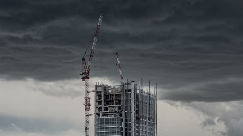 Renzo Piano Skyscraper In Turin with cloud storm in 4K