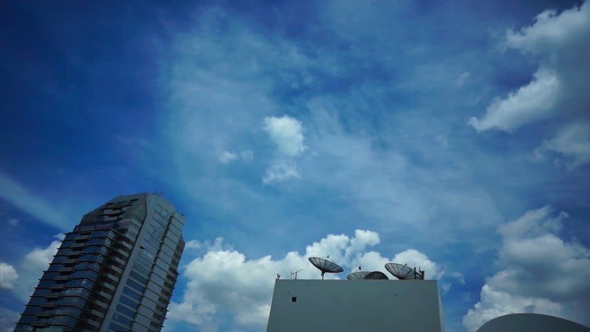 Skyscraper roofs with antennas in Bangkok - HD stock footage clip