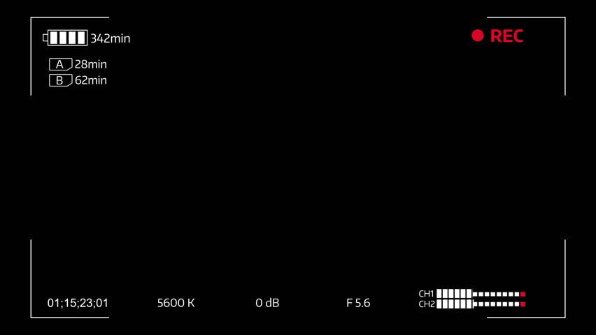 Camera viewfinder digital overlay display - 4k. Luma matte included.